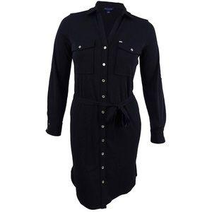 New tommy hilfiger shirt dress black 2 button down